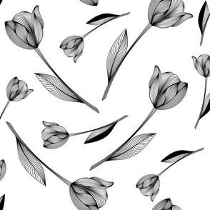 Bold Tulips - black & white
