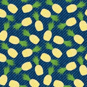 (small scale) Pineapples - Dark blue stripes - Summer - C20BS