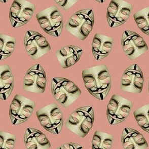 Guy Fawkes Masks on Coral Pink