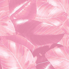 Philodendron Pink Princess - Pink Botanical All Over Pattern