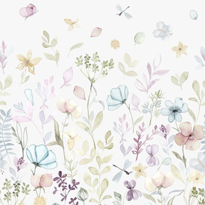 Ombre Border Large Spring Floral meadow