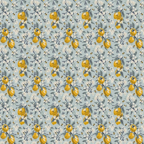Bees & Lemons - Mini - Blue (original colors)