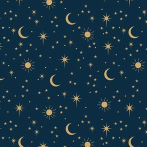 Mystic boho universe sun moon phase and stars sweet dreams night navy blue gold