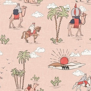 BLACK CURVED LINES ON RED TEXTURE