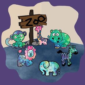 Tie-Dye Zoo Repeat Purple by Shari Lynn's Stitches