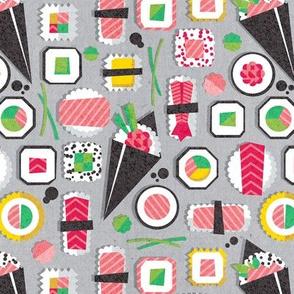 Small scale // Paper cut geo sushi // grey background multicoloured geometric sushi rolls