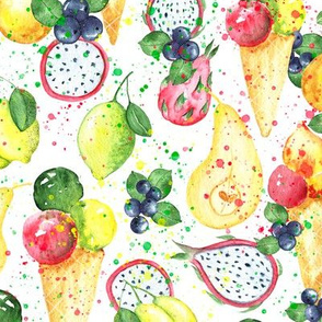 Summer ice-cream and fruits