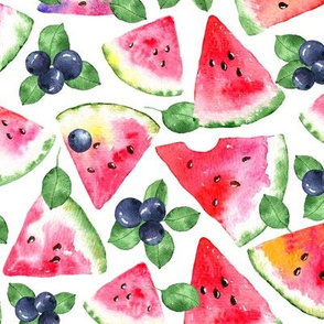 Watermelon and Berries on white