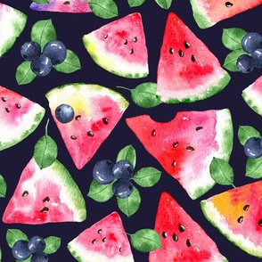 Watermelon and Berries on deep blue
