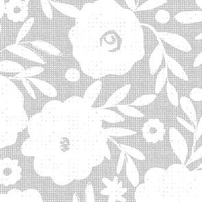 White flowers on gray tweed-jumbo