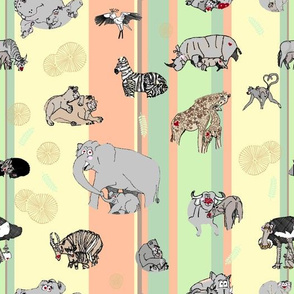 Hand-drawn Safari Animal - acacia version - nursery wallpaper