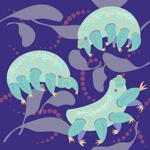 frolicking water bears in blue