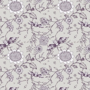 Bat Botanical. Dark Purple, White & Grey