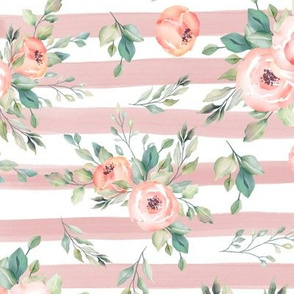Peachy Pink Love Floral Striped