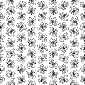 Vintage Octopus Black & White Pattern (Small Scale)