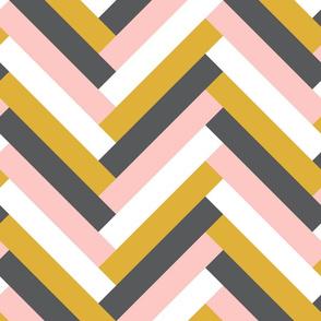 herringbone (pink_ mustard)