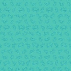 Sea Crabs in Two Tone Teal Blue (Small Scale)