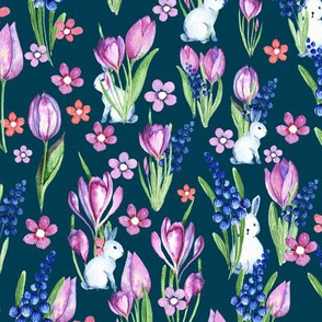 Spring flowers and bunnies on a deep blue