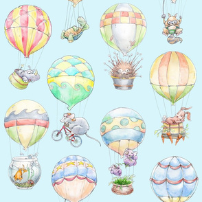 Animal Air Balloons blue