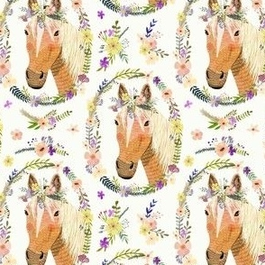 "4"" Horse horse with flowers - white"