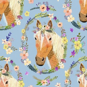 """8"""" Cute horse with flowers - Dusty Blue"""
