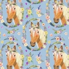 """4"""" Cute horse with flowers - Dusty Blue"""