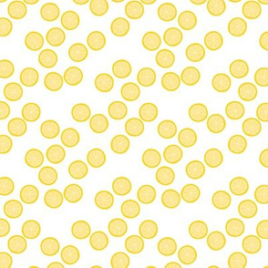Little slices of lemon bright yellow fruit cocktail summer design on white SMALL