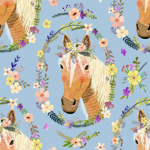 "32"" Cute horse with flowers - Dusty Blue"