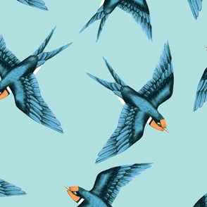 Swooping Swallow Blue Green Teal // large