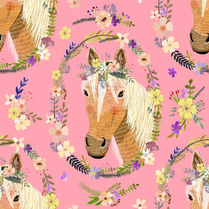 """32"""" Cute horse with flowers - Pink"""