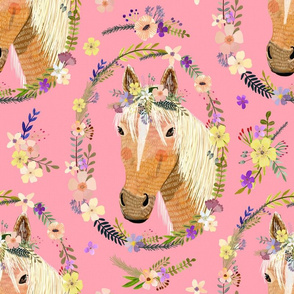 "16"" Cute horse with flowers - Pink"