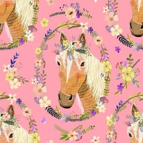 "8"" Cute horse with flowers - Pink"