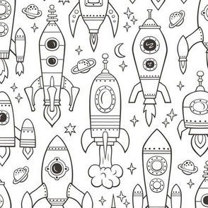 Vintage Space Galaxy Rockets Black & White Coloring