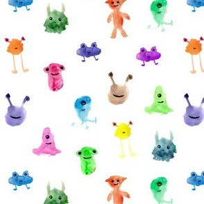 Rainbow smiley monsters - watercolor colorful aliens