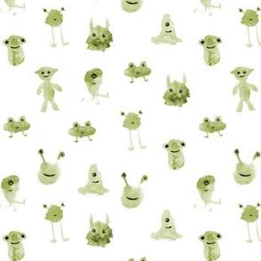 Khaki smiley monsters - watercolor aliens p275
