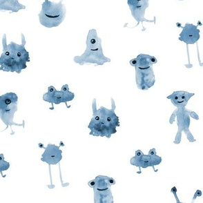 smiley indigo monsters ★ watercolor aliens for modern monochrome nursery