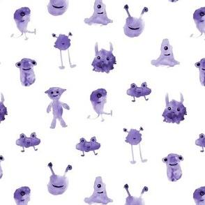 Purple smiley monsters - watercolor aliens p275