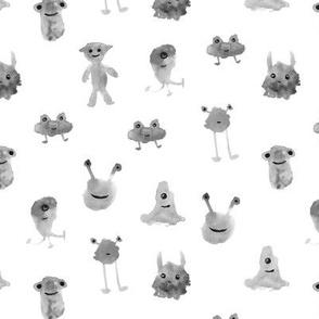 Silver smiley monsters - watercolor grey aliens 275