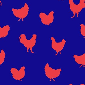 Chickens (red on blue)