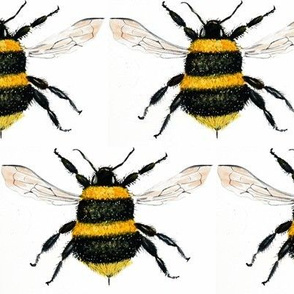 bee watercolor art fabric