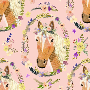 "16"" Cute horse with flowers - Dusty Pink"
