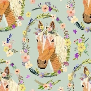 "8"" Cute horse with flowers - Dusty green"