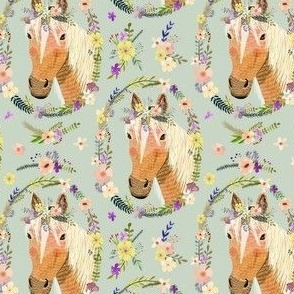 """4"""" Cute horse with flowers - Dusty green"""