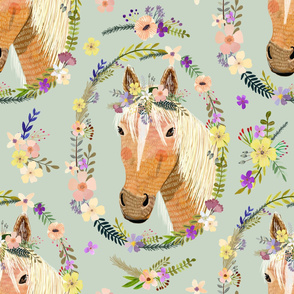 """32"""" Cute horse with flowers - Dusty green"""