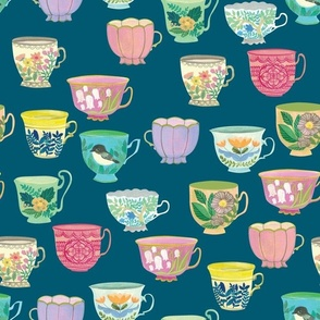 Vintage Tea Cups {Prussian Blue}