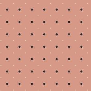 Gunpowder and Cream Dots on Coral Pink