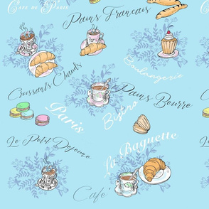 Cafe and Croissants-light blue