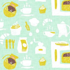 Pastel Cafe Aqua Green