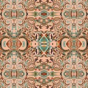 Abstract Norse  Tapestry in Peach - Aqua - Coral - Brown