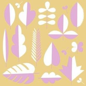 minimal leaves lilac mustard white